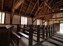 Historical Jamestown Settlement Church Interior Stock Photography
