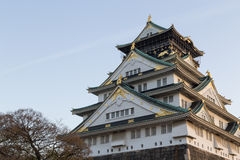 Historical Japanese castle in Osaka, Japan Royalty Free Stock Images