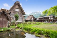 Historical Japanese Village - Shirakawago in spring Royalty Free Stock Photo