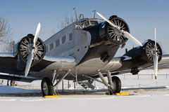 Historical JU 52 aircraft. The Junkers Ju 52 was used as an civilian airliner and military aircraft manufactured between 1932 and 1945 by Junkers corporation. It Royalty Free Stock Images