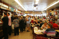 Historical Katz's Delicatessen full of tourists and locals Royalty Free Stock Image
