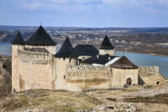 Historical Khotyn fortress and castle in Ukraine stock photo