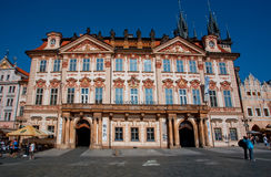 Historical Kinsky palace of 18th century, now art museum, part of Narodni Galerie. PRAGUE, CZECH RESPUBLIC - AUG 26: Historical Kinsky palace of 18th century Stock Image