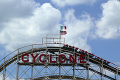 Historical landmark Cyclone roller coaster at the Coney Island section of Brooklyn stock images
