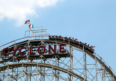 Historical landmark Cyclone roller coaster in the Coney Island section of Brooklyn Royalty Free Stock Images