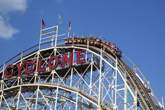 Historical landmark Cyclone roller coaster in the Coney Island section of Brooklyn stock images