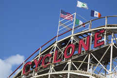 Historical landmark Cyclone roller coaster in the Coney Island section of Brooklyn Stock Image