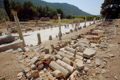 Historical landscape with ruined street of ancient city Ephesus in Turkey Stock Photo