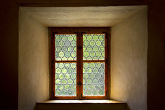 Historical leaded or stained glass window Royalty Free Stock Photo