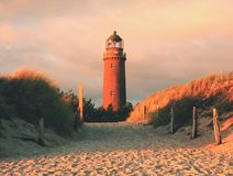 Historical lighthouse. Shinning lighthouse,  dunes and pine tree. Tower illuminated. With strong warning light, dark sky in background. Lighthouse tower built Stock Photography