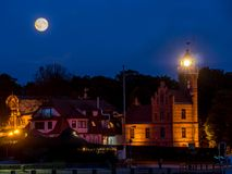 Lighthouse in Ustka, Poland. Historical Lighthouse in Ustka by night, located at the Baltic Sea coast, Poland Royalty Free Stock Image