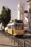 Historical Lisbon yellow tramway Stock Images