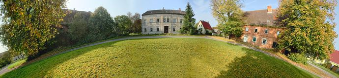 Historical manor grounds in Stilow, Mecklenburg-Vorpommern, Germany. The buildings are listed as monuments stock images