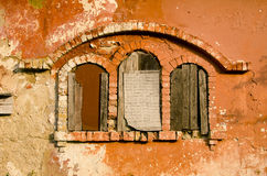 Historical manor ruins windows Royalty Free Stock Image