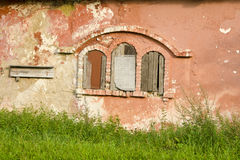 Historical  manor ruins windows and cracked wall Stock Images