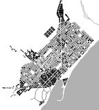 Historical map of the city center of Barcelona, Spain Royalty Free Stock Photo