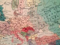 Historical map of Europe. Exhibits on The Hungarian National Museum national museum for the history, art and archaeology of Hungary, including areas not within Stock Image