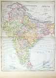 Historical map of India Royalty Free Stock Photos