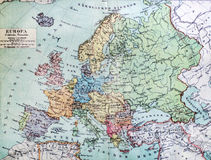 Historical map of old Europe. Stock Photo
