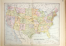Historical map of USA Stock Photos
