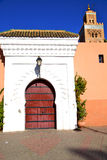 Historical marble  in  antique building door morocco    minaret. Historical in  antique building door morocco      style africa   wood and metal rusty Royalty Free Stock Images