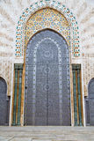 Historical marble  in  antique building. Historical in  antique building door morocco     style africa   wood and metal rusty Royalty Free Stock Photography
