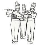 Historical marching band with quiver flutes, vector sketch. Hand-drawn vector clipart Stock Image