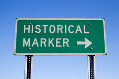 Historical Marker Sign. A Historical Marker road sign stock photography