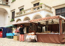 Historical market on courtyard of Castle in Telc royalty free stock images