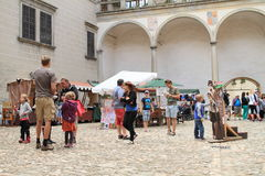 Historical market on courtyard of Castle in Telc stock photos