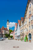 The historical market place in Horb on the Neckar. The historical marketplace with the collegiate church and the Horber illustrated broadsheet on the town hall Stock Photography