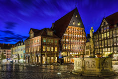 Historical market square in Hildesheim, Germany. During the blue hour Stock Images