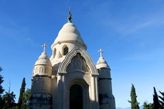Supetar, Croatia. Historical mausoleum on a cemetery in Supetar, island Brac, Croatia stock photos