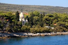 Supetar, Croatia. Historical mausoleum on a cemetery in Supetar, island Brac, Croatia stock image