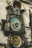 Historical medieval astronomical clock in Old Town Square in Pra Stock Photos