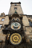 Historical medieval astronomical clock in Old Town Square in Prague Stock Image
