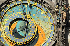 Historical medieval astronomical Clock in Prague on Old Town Hall , Czech Republic Stock Photos