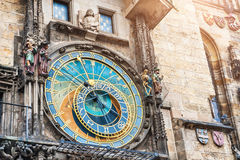 Historical medieval astronomical clock in Prague Stock Photography