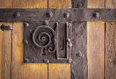 Historical medieval ornamental door Stock Photo