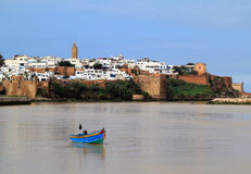 Rabat Morocco river and Medina. The historical Medina of the city of Rabat, capital of Morocco, viewed from the river stock images