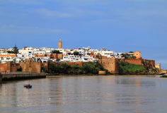 Rabat Morocco river and Medina. The historical Medina of the city of Rabat, capital of Morocco, viewed from the river royalty free stock photos