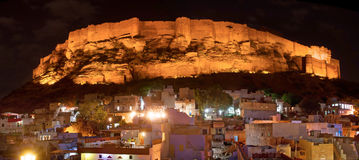 Historical Mehrangarh Fort in Jodhpur. Night view, Rajasthan, In Royalty Free Stock Image