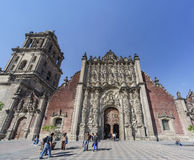 The historical Mexico City Metropolitan Cathedral. Mexico City, FEB 17: Morning view of the historical Mexico City Metropolitan Cathedral on FEB 17, 2017 at Royalty Free Stock Image