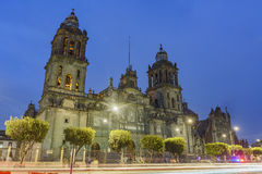 The historical Mexico City Metropolitan Cathedral. Night view of the historical Mexico City Metropolitan Cathedral of Mexico City Stock Photo