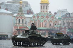 Historical military hardware on parade-reconstruction  on Red Square in Moscow. Royalty Free Stock Photo