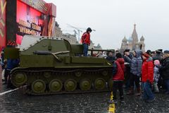 Historical military hardware on parade-reconstruction  on Red Square in Moscow. Stock Photos