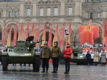 Historical military hardware on parade-reconstruction  on Red Square in Moscow. Royalty Free Stock Photos