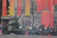 Historical military hardware on parade-reconstruction  on Red Square in Moscow. Stock Image