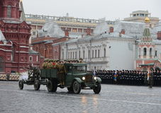 Historical military hardware on parade-reconstruction  on Red Square in Moscow. Royalty Free Stock Photography