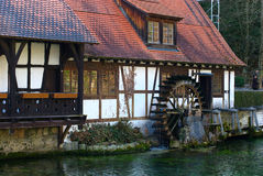 Historical Mill. At the Blautopf spring pond in Blaubeuren, near Ulm, South-Germany Stock Image